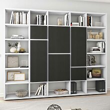 Design Regal in Schwarz Braun Eiche und Weiß