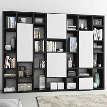 Design Regal Türen mit Weiß und Eiche Schwarz