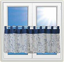 Design Scheibengardine Landhaus Blumen blau 2418 |