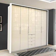 Design Schlafzimmerschrank in Creme Weiß Glas