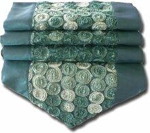 Design Schnecke Kreisel Kreise Kreisel türkis Tischläufer Tischdecke für Küche Wohnzimmer Thai Silk Abmessungen 200 cm x 30 cm