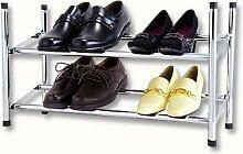 Design Schuhregal Chrom stapelbar und ausziehbar