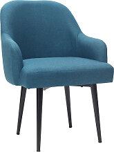 Design-Sessel blaugrüner Stoff und Metallbeine