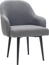 Design-Sessel dunkelgrauer Stoff und Metallbeine