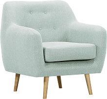 Design-Sessel helles Holz und minzgrüner Stoff