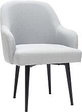 Design-Sessel hellgrauer Stoff und Metallbeine