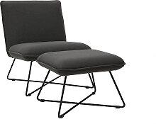 Design-Sessel mit Fußablage Stoff in Dunkelgrau