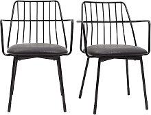 Design-Sessel schwarzes Metall mit Kissen