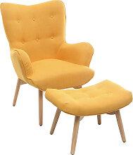 Design-Sessel skandinavisch und Fußablage Gelb