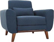 Design-Sessel Stoff Blau und Füße Nussbaum EKTOR