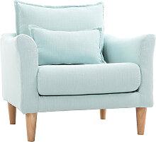 Design-Sessel Stoff Meeresgrün und Eiche KATE