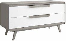 Design Sideboard in Grau Weiß Kunstleder modern