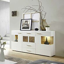 Design Sideboard in Weiß Holz Dekor LED