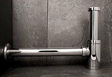 Design Siphon 1 1/4 Zoll Flaschen Siphon DESIGN Röhrensiphon Waschbecken Sifon Ablauf chrom Wandrosette