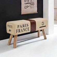Design Sitzbank braun aus Echtleder / Stoff,