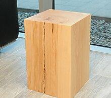 Design-Sitzblock Sitzhocker Hocker Cube Sitzwürfel Sitzklotz Massivholz Buche Couchtisch Beistelltisch Holz Blumenständer Holzklotz Holzblock