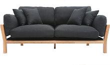 Design-Sofa 3-Sitzer abziehbarer, anthrazitgrauer