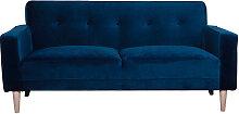 Design-Sofa 3 Sitzplätze nachtblaues Velours