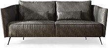 Design Sofa in Anthrazit Stoff Stahl