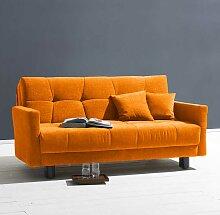 Design Sofa in Gelb Velours Schlaffunktion