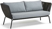 Design Sofa in Hellgrau Dunkelgrau Webstoff