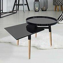 Design Sofatisch in Schwarz Hochglanz und Bambus