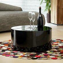 Design Sofatisch in Schwarz Hochglanz Zylinderform