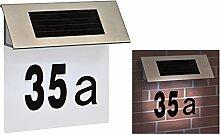 Design Solar LED Hausnummer Edelstahl Hausnummern