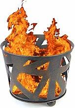 Design Stahl Feuer-Korb XL 40cm schwarz Garten-Kamin Pflanz-Schale Terrassen-Ofen Feuer-Stelle Feuer-Schale Terrassenfeuer
