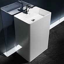 Design Standwaschbecken Colossum34 in Weiß, aus Gussmarmor, Standwaschtisch, Waschtisch, BTH: 42x60x90cm