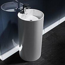 Design-Standwaschbecken Colossum35 in Weiß, aus Gussmarmor, Standwaschtisch, Waschtisch, BTH: 45x45x90cm