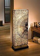 Design Stehlampe aus Rattan, Canvas und Metall,