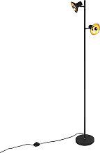 Design Stehleuchte schwarz mit Gold 2-Licht - Avril