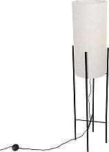 Design Stehleuchte schwarz mit Leinenschirm grau -