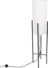 Design Stehleuchte schwarz mit Leinenschirm weiß