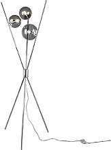 Design Stehleuchte Silber mit Rauchglas 3-Licht -