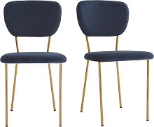 Design-Stühle aus blauem Samt und vergoldetem