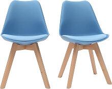 Design-Stühle Blaugrün mit hellen Holzbeinen
