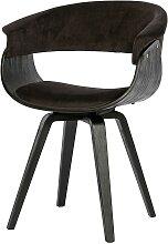 Design Stühle in Dunkelbraun Samt Armlehnen