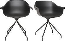 Design-Stühle Schwarz mit Metallbeinen (2er-Satz)