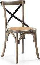 Design Stuhl aus Ulme Massivholz Retro Design (2er Set)