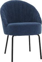 Design-Stuhl blauer Velours und schwarzes Metall