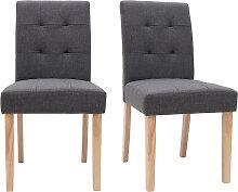 Design-Stuhl gepolstert Stoff dunkle Grau 2er-Set