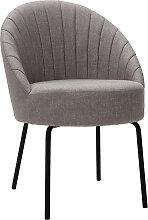Design-Stuhl grauer Stoff und schwarzes Metall