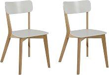 Design-Stuhl Holz und Weiß lackiert 2er-Set LAENA