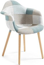 Design Stuhl in Bunt gemustert Armlehnen (2er Set)