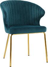 Design-Stuhl petrolblauer Velours und goldfarbenes