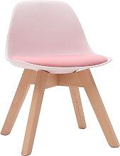 Design-Stuhl Rosa mit Holzbeinen BABY PAULINE