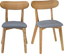 Design-Stuhl Vintage Grau mit Holzbeinen 2er-Set
