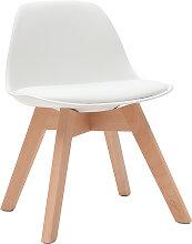 Design-Stuhl Weiß mit Holzbeinen BABY PAULINE